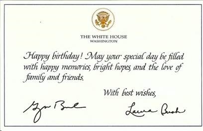 Greetings from the President – Presidential Birthday Card
