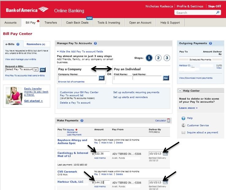 bank of america online bill pay support
